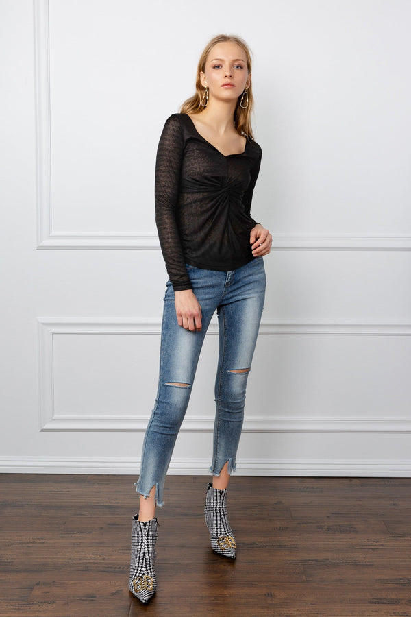 Black Sheer Long Sleeve Top by J.ING Women's Clothing