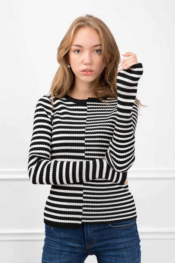 Arianna Stripped Knit Top in Knitwear by J.ING - an L.A based women's fashion line