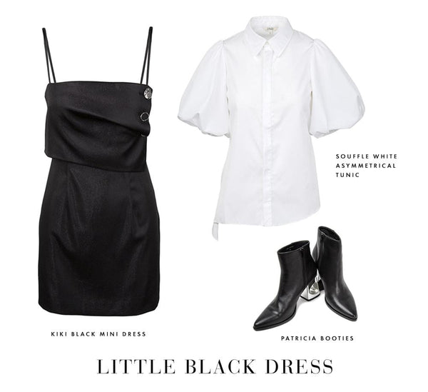 Slinky Black Mini Dress, White Balloon Sleeve Blouse, Black Ankle Boots | Shop the Look with J.ING