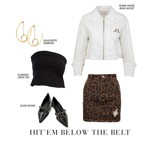 White cropped denim jacket, black tube top & leopard print mini skirt | J.ING women's apparel