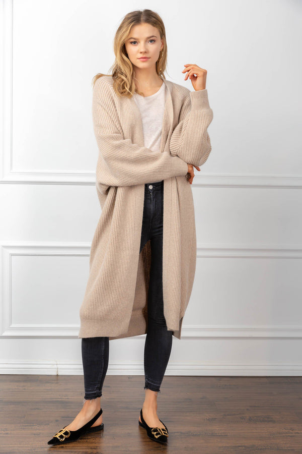 Athena Cardigan Tan in Coats & Jackets by J.ING - an L.A based women's fashion line