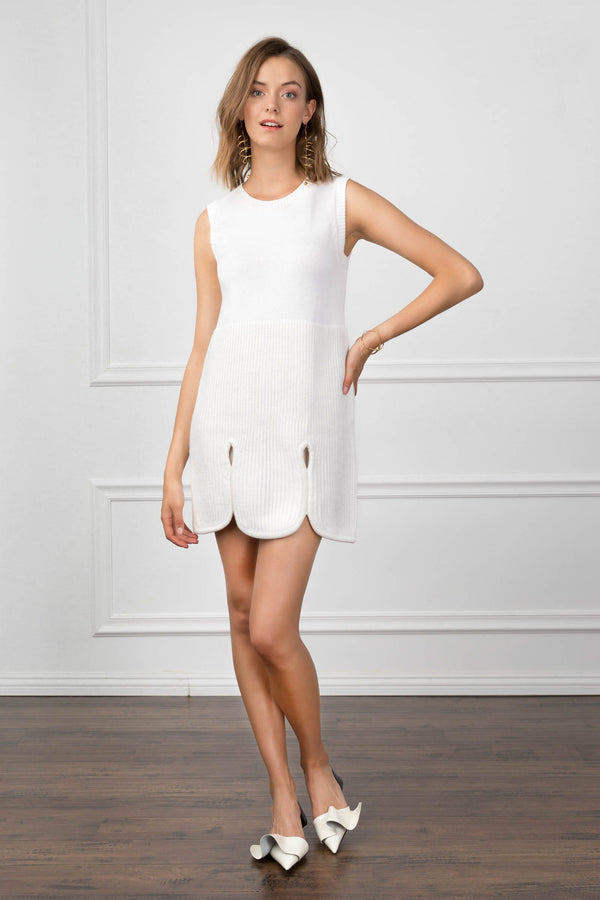 Beverly Dress Ivory in Knitwear by J.ING - an L.A based women's fashion line