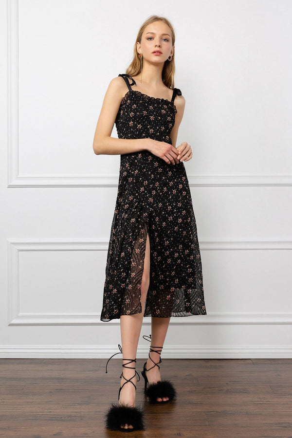 Black Floral Print Sheer Midi Dress with Thigh Slit
