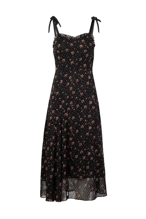 Black Ariba Floral Midi Dress
