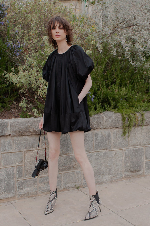 Girl in Black Balloon Mini Party Dress with Belted Waist