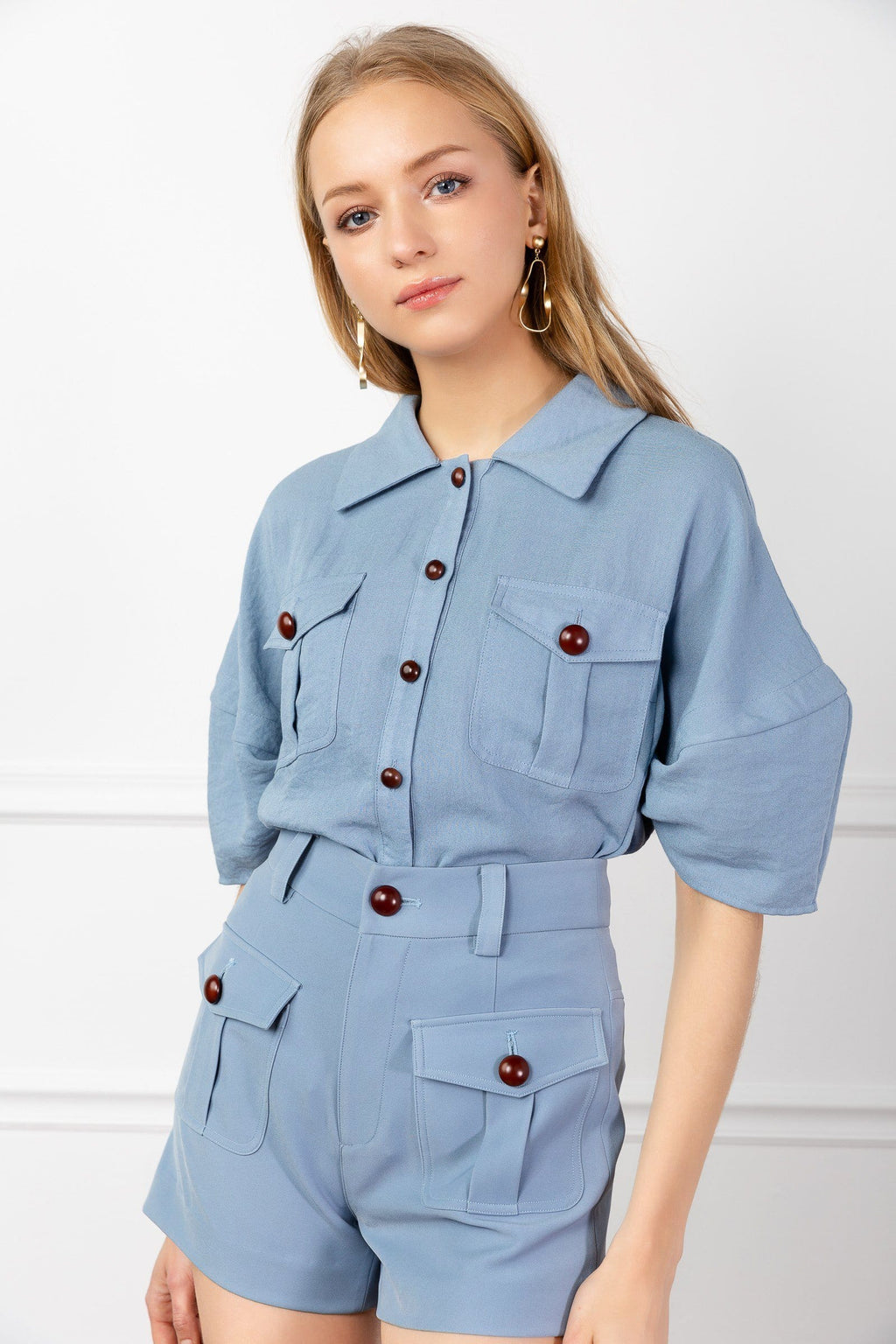 Blue Button Up Shirt and Shorts set by J.ING Women's Clothing