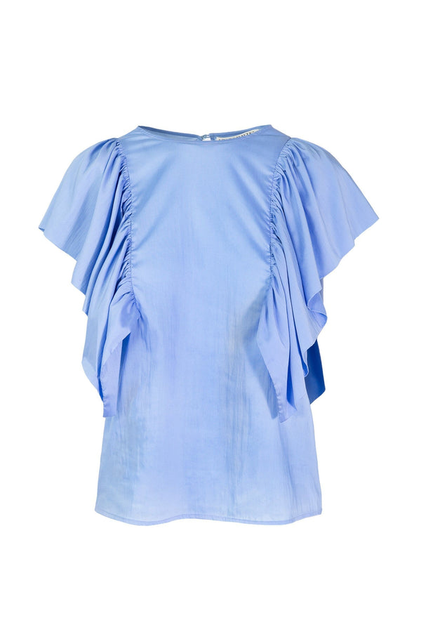 Blue Flutter Blouse