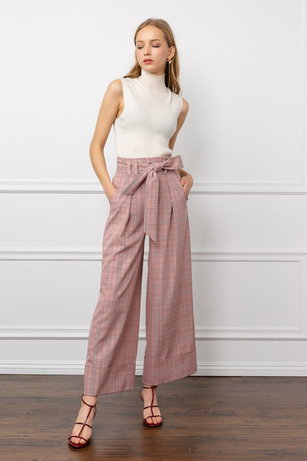 Pink Wide Leg Pants with Grid Pattern and Bowtie Belt | J.ING Women's Pants