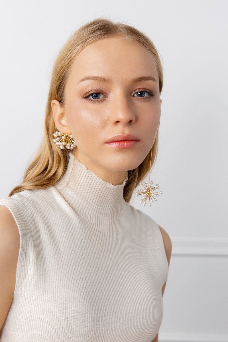 Gold colored Earrings with dandelion design | J.ING women's accessories