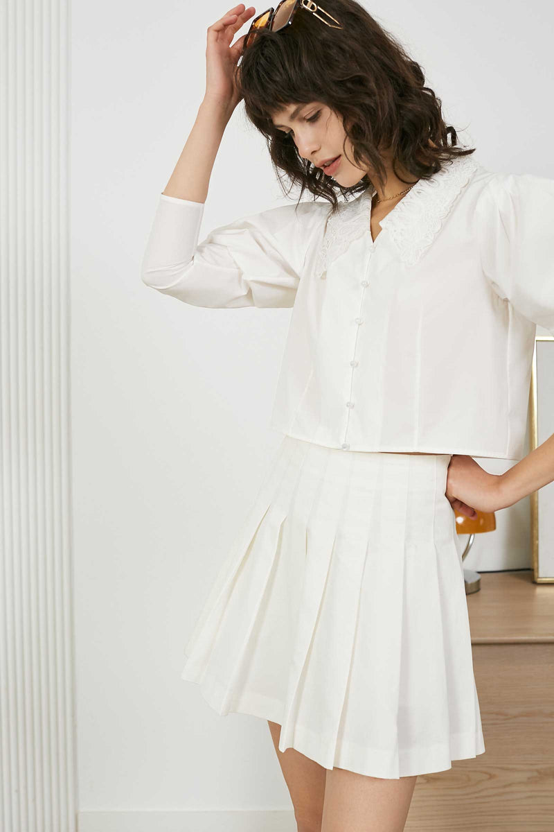 Pleated Ivory Skirt