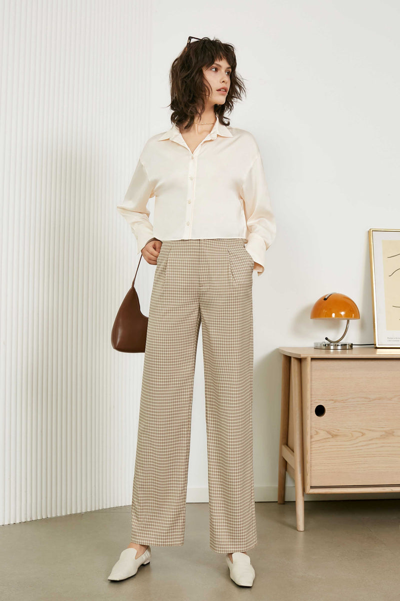 Tan Checkered High Waisted Pants