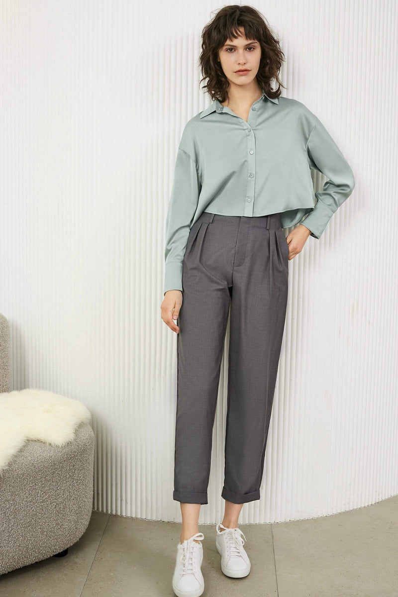 Slouchy Charcoal Pleated Trousers