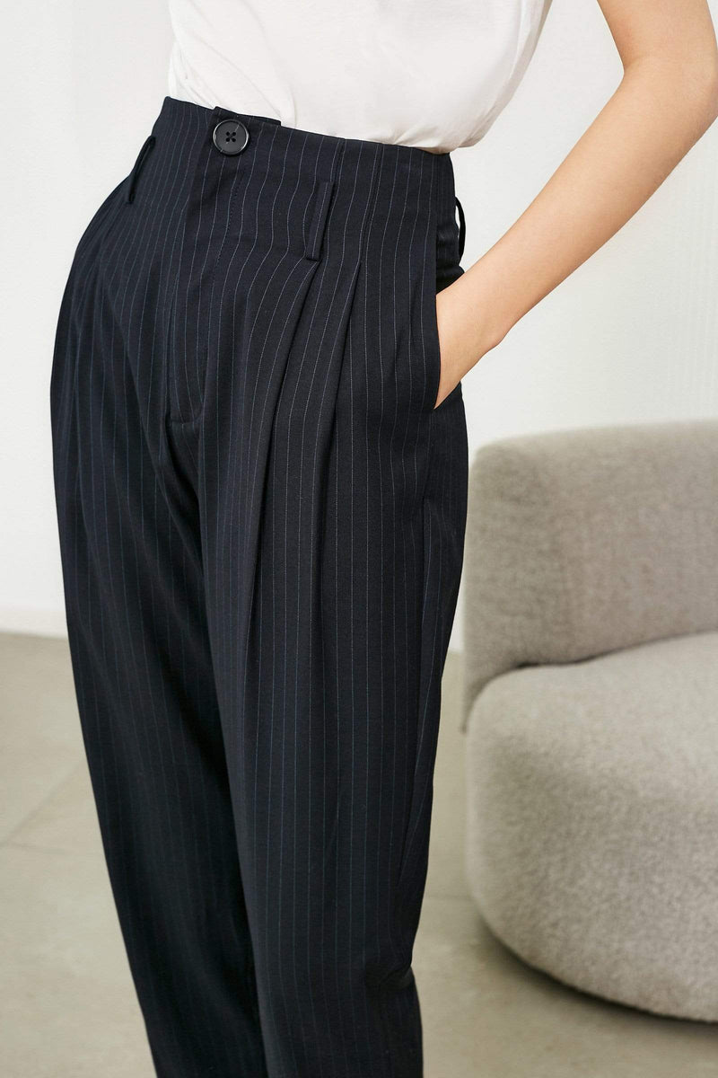 Slouchy Midnight Pleated Trousers