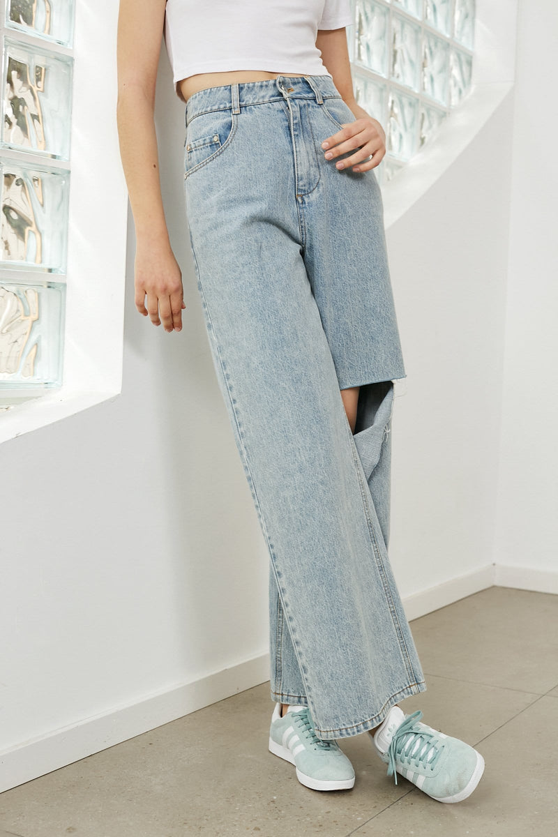 Everly Wide Leg Distressed Jeans