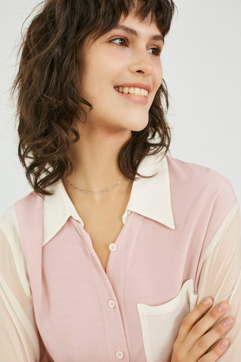 Pink and White Button Up Shirt
