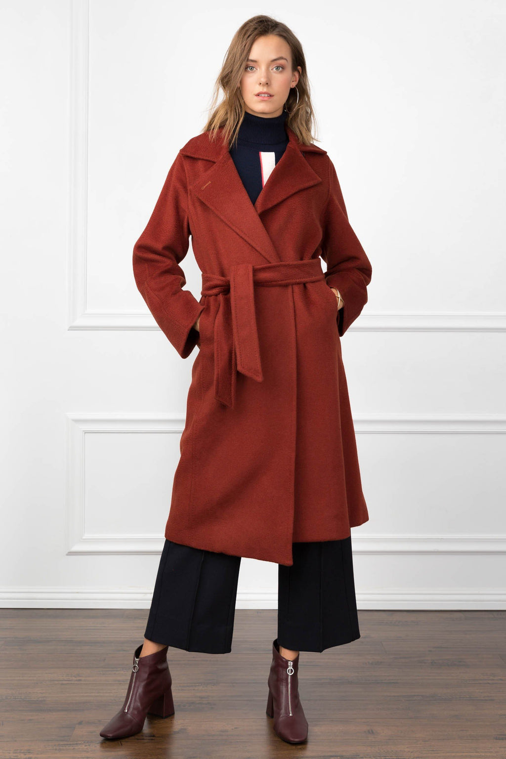 Carey Coat Dark Red in Coats & Jackets by J.ING - an L.A based women's fashion line