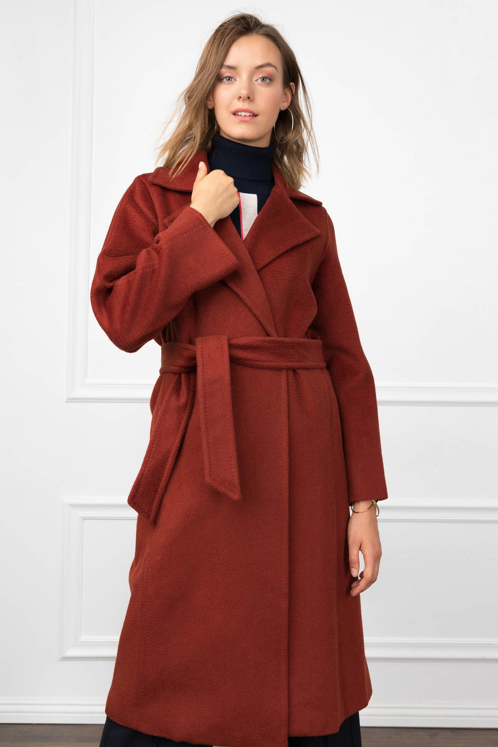Carey Coat Red Wine in Coats & Jackets by J.ING - an L.A based women's fashion line