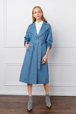 blue denim women's trench coat by j.ing los angeles apparel