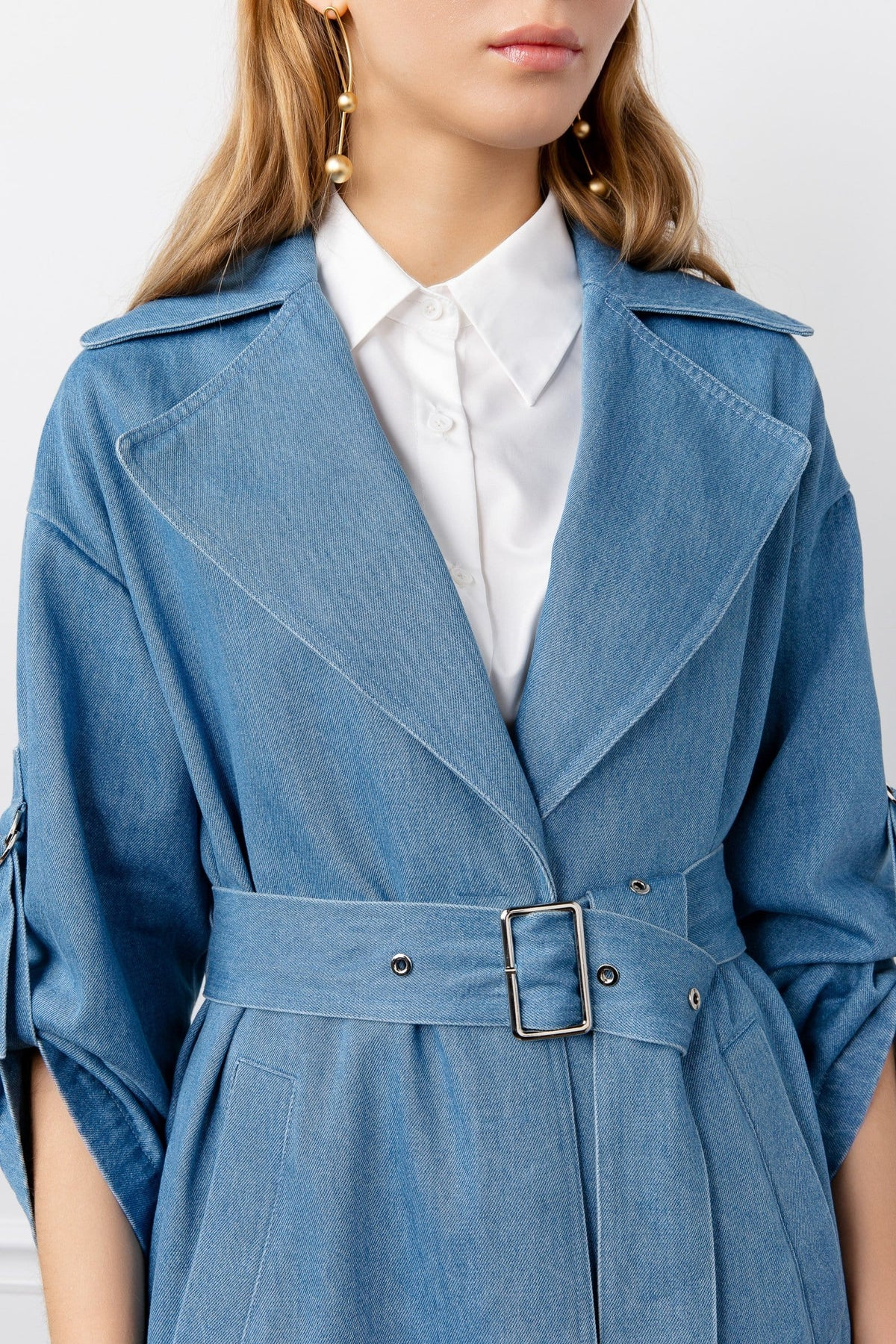 Nadine Blue Jean Trench Coat