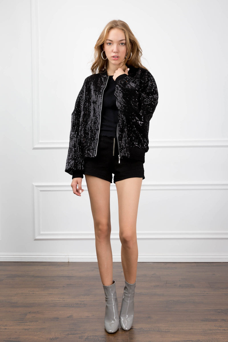 Celeste Sequin Black Bomber in Coats & Jackets by J.ING - an L.A based women's fashion line