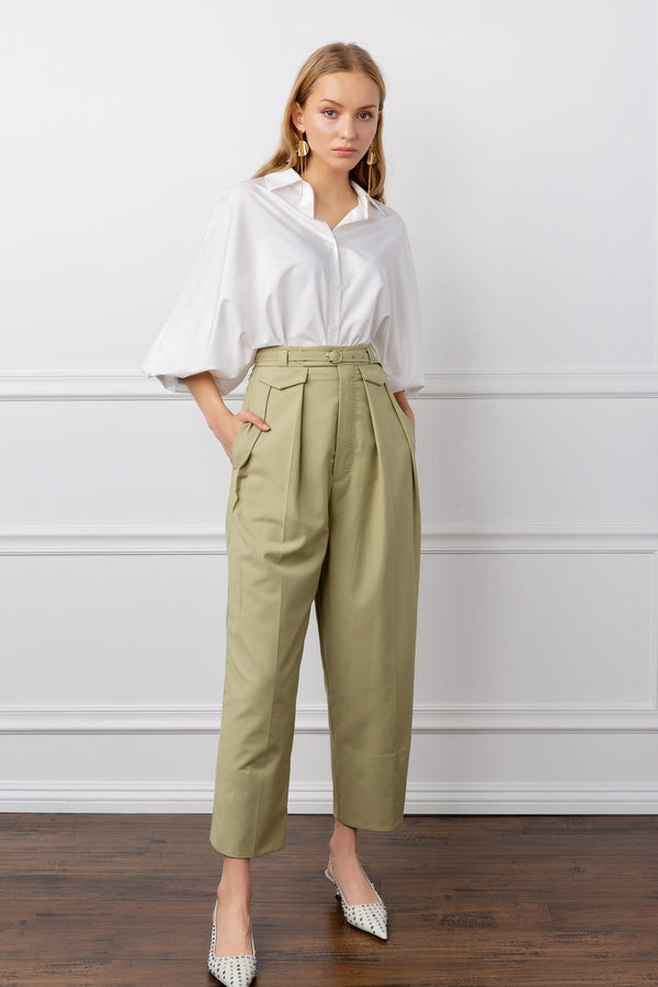 Khaki Cropped Ankle Trousers | J.ING Women's Pants