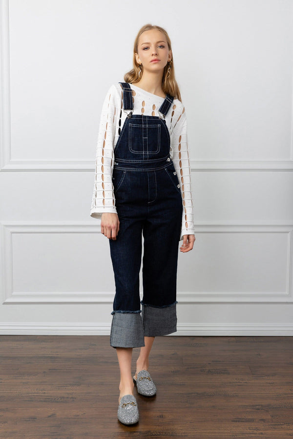 Dark Denim Cuffed Overalls | J.ING Women's Apparel