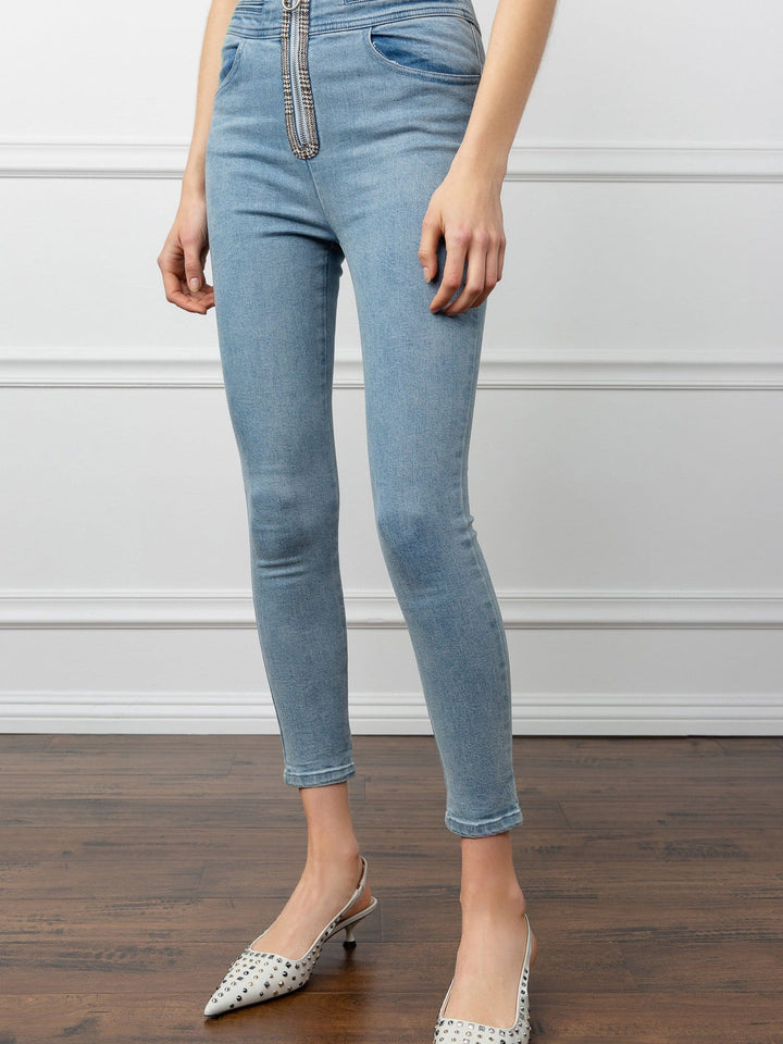 Squeeze Scalloped High Waist Skinny Jeans | J.ING Women's Bottoms