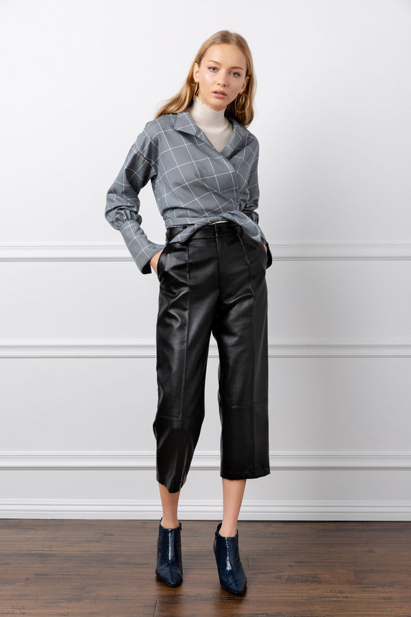 Black Leather Vegan Cropped Pants | J.ING Women's Apparel