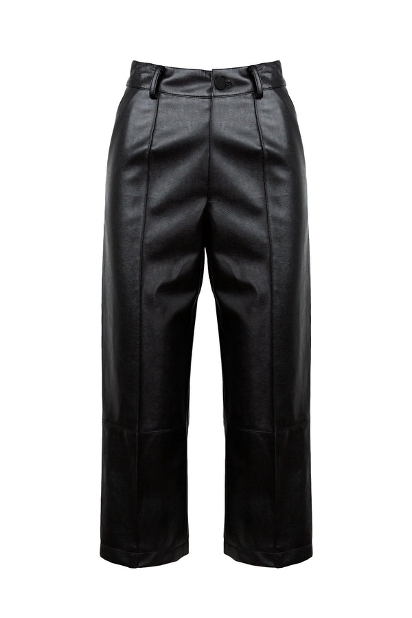 Yooni Faux Leather Cropped Trouser
