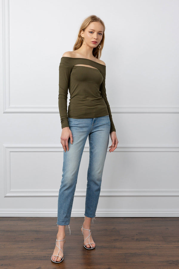 Olive green long sleeve women's tops with peekaboo cut out by j.ing women's apparel