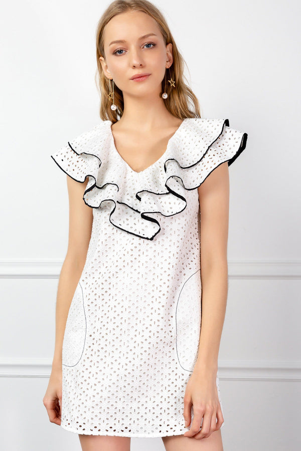 White Ruffled Collar Eyelet Lace Dress | J.ING women's apparel