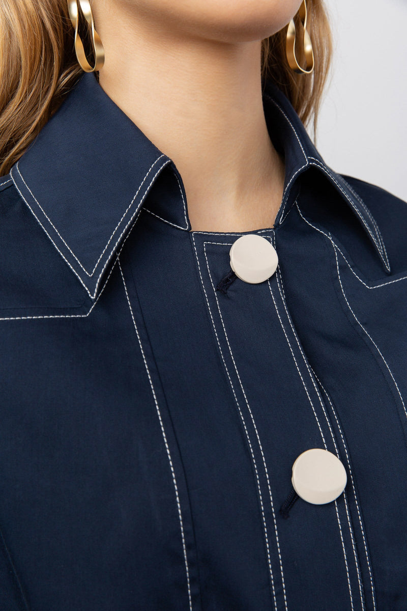 Pusher Navy Button Blouse
