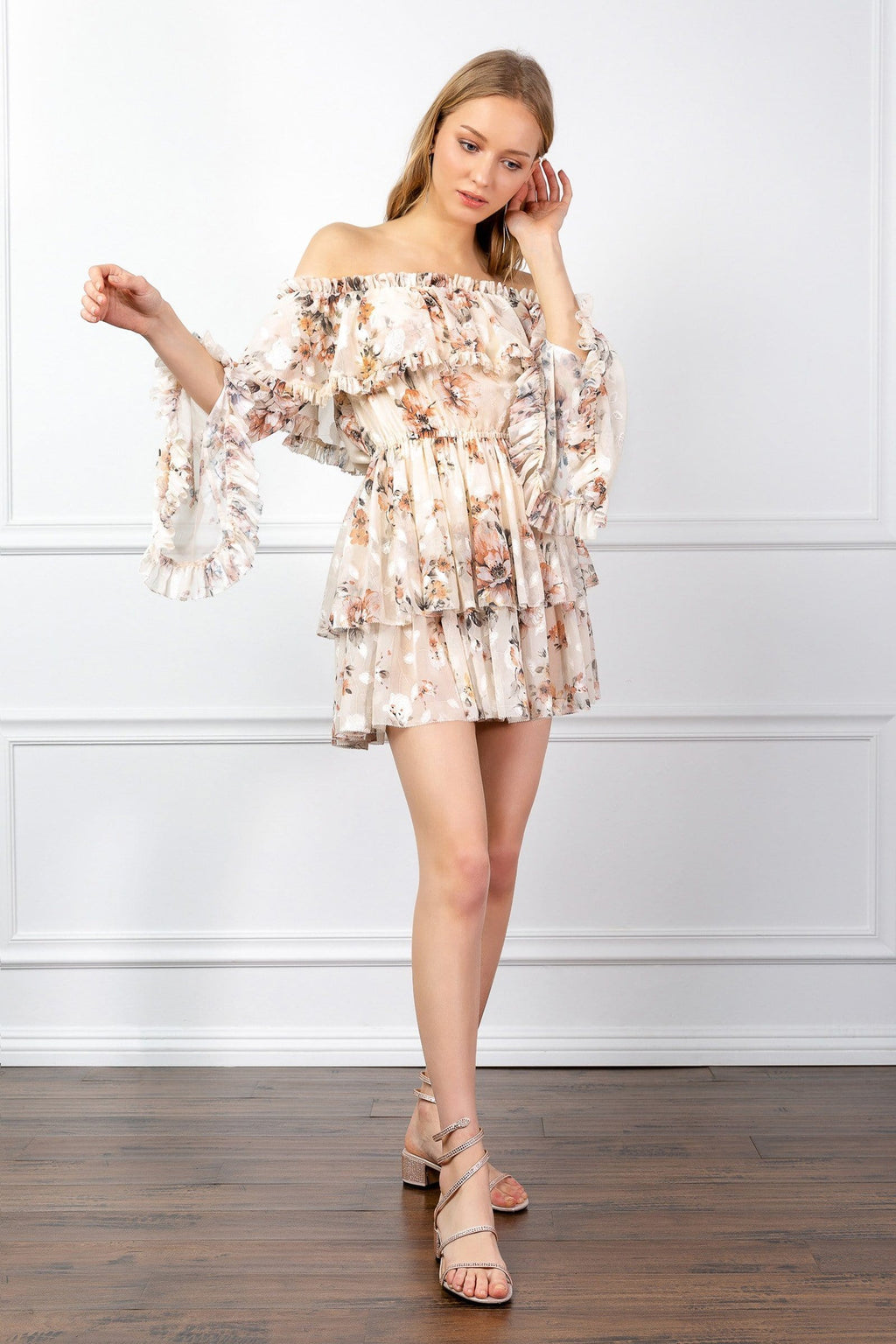 Ruffled floral off the shoulder mini dress | J.ING women's apparel