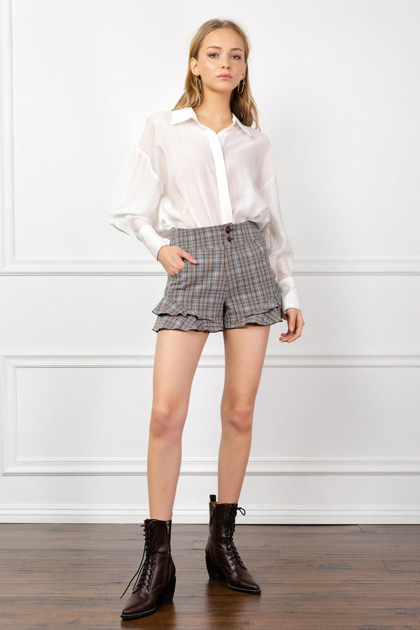 Grey Plaid Shorts with Ruffled Hemline | J.ING Women's Shorts