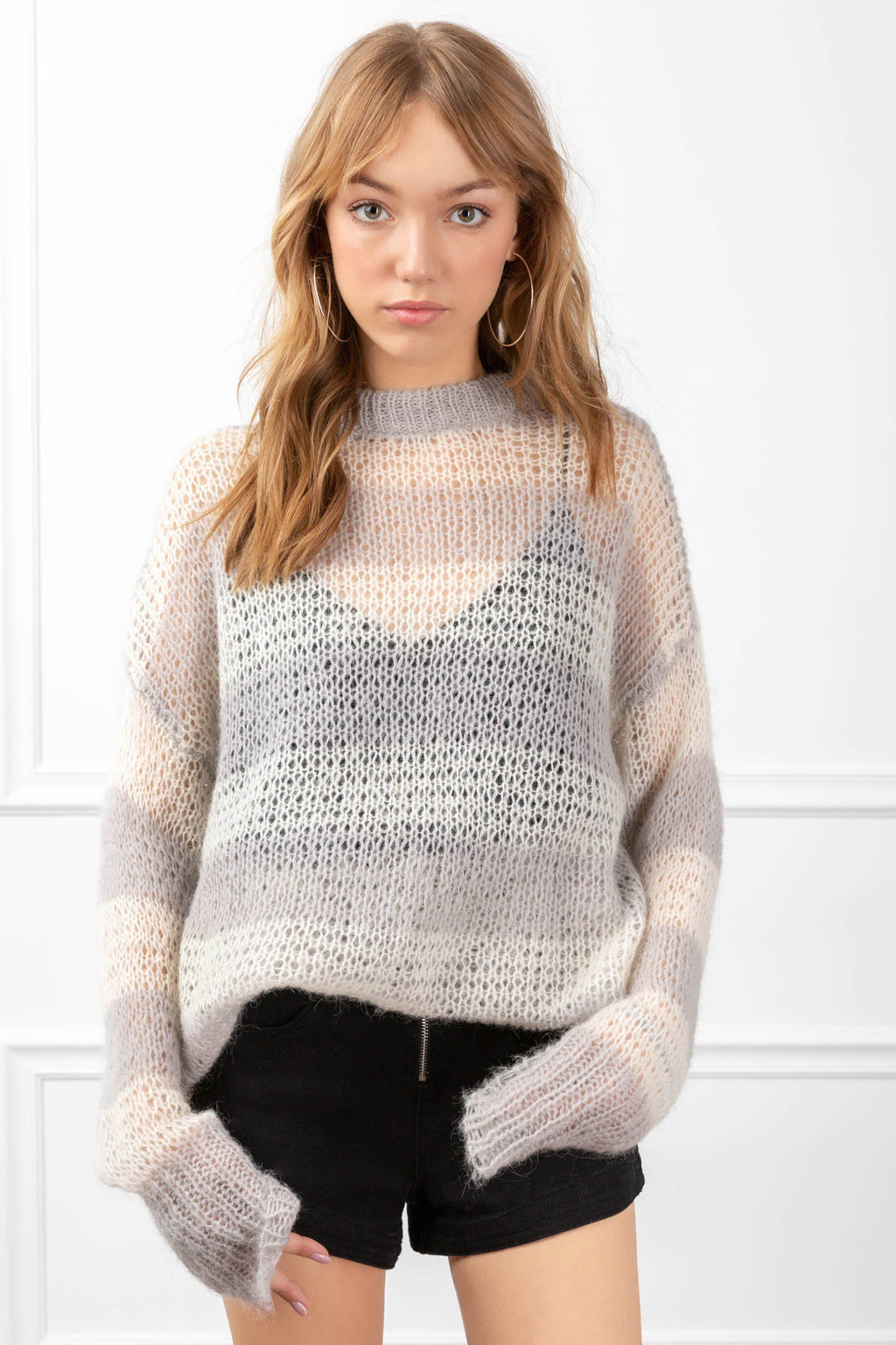 Eliza Sweater Light Grey in Knitwear by J.ING - an L.A based women's fashion line