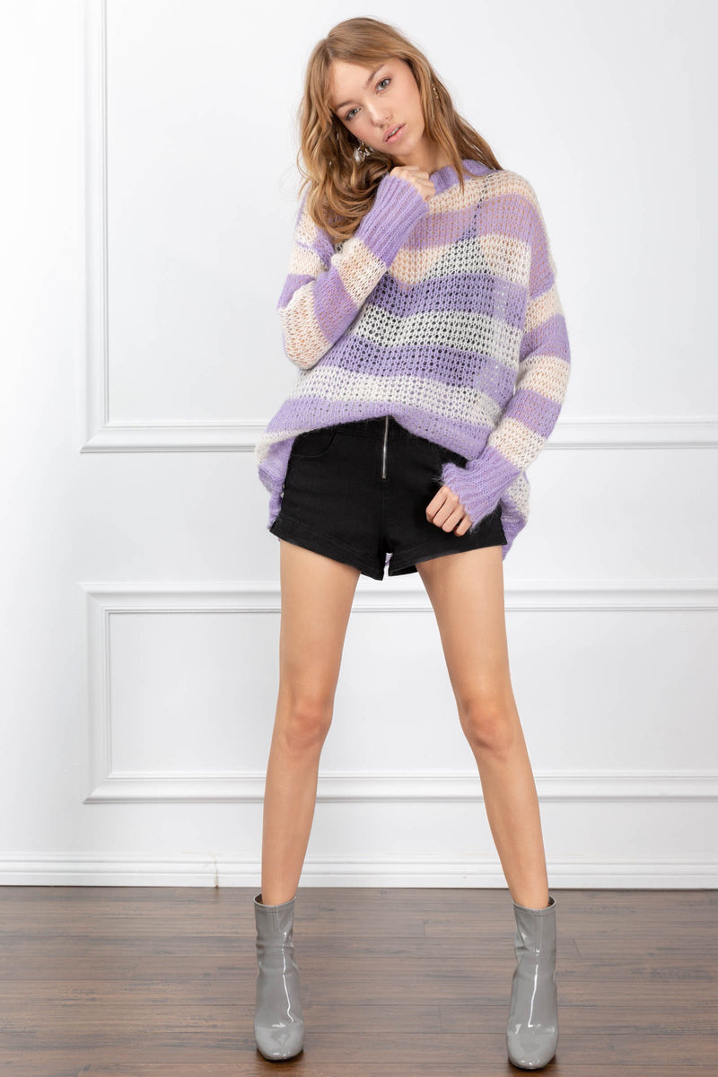 Eliza Sweater Purple in Knitwear by J.ING - an L.A based women's fashion line