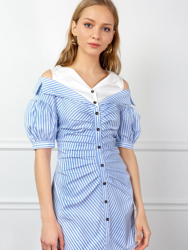 Layered Blue striped off-the-shoulder dress with balloon sleeves | J.ING women's clothing