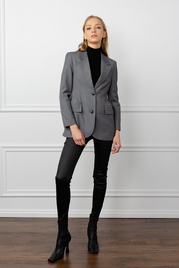 dark grey women's blazer fitted structured by j.ing los angeles