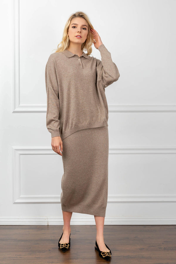 Sand colored polo sweater and skirt set