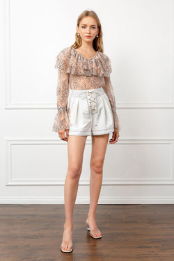 Nude Colored Floral Lace Top with Flounced Collar | J.ING Women's Blouses