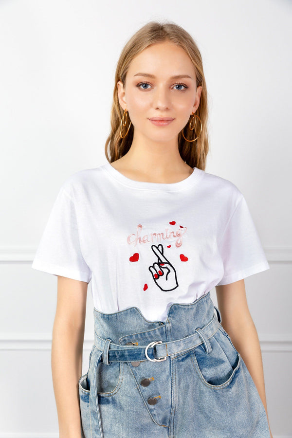 White Embroidered Tee with Fingers Crossed Design | J.ING Women's Tops