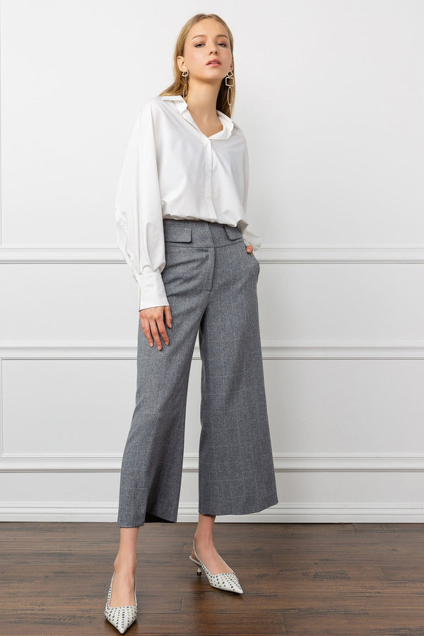 Grey wide leg cropped ankle women's work pants by j.ing