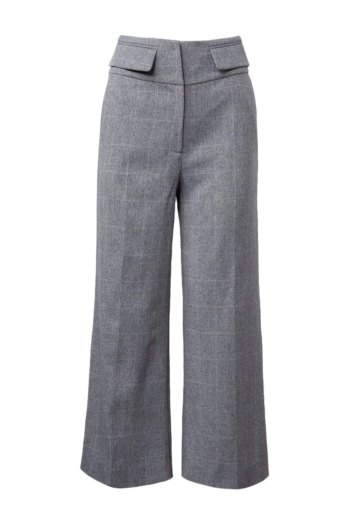Ash Grey Wide Leg Cropped Trousers