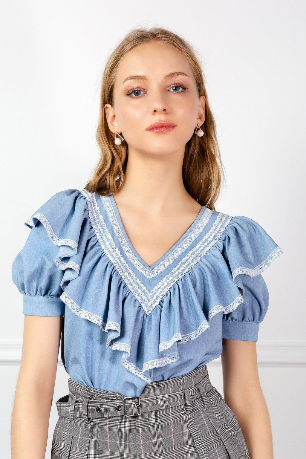 Light Blue Ruffled V-Neck Blouse | J.ING Women's Tops