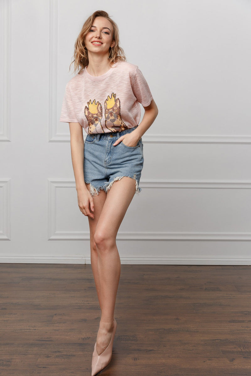 Ginny Pink Tee in Tops by J.ING - an L.A based women's fashion line