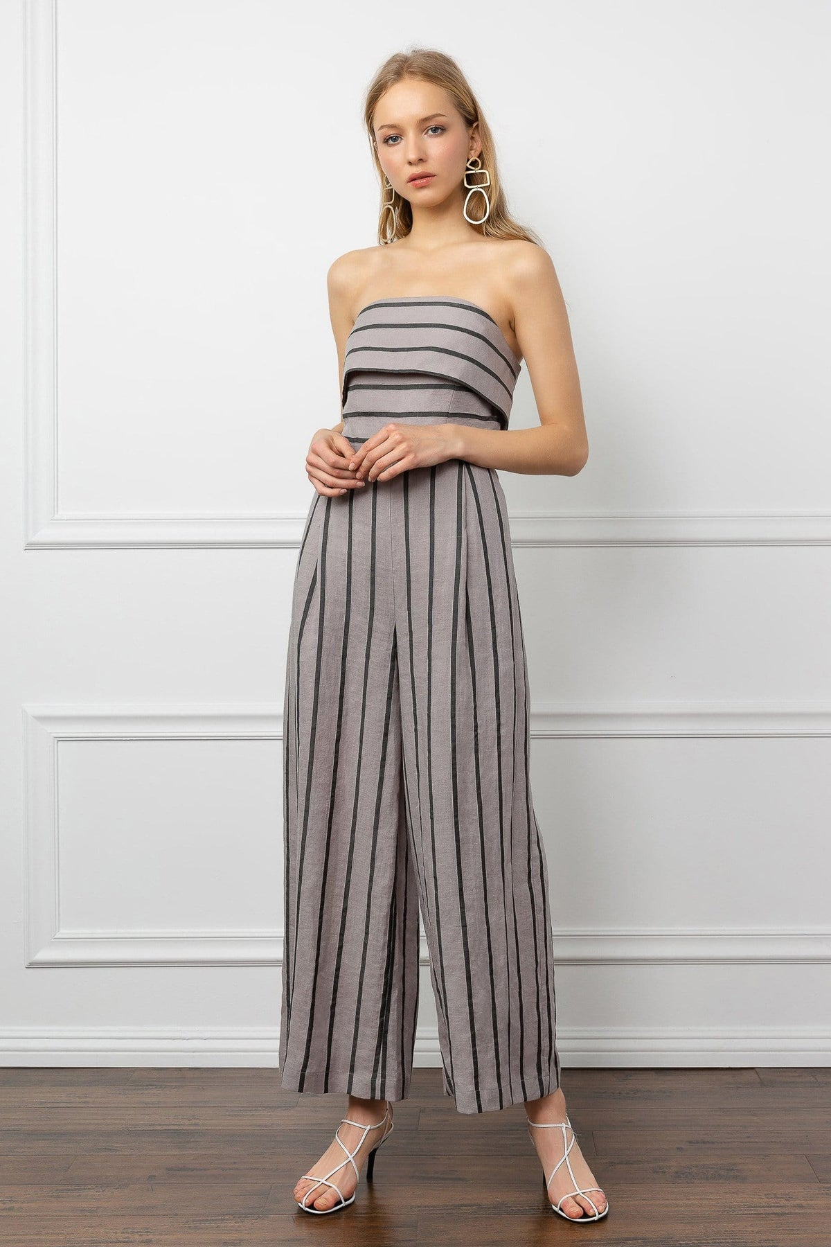 Grey Striped Strapless Jumpsuit | J.ING women's apparel