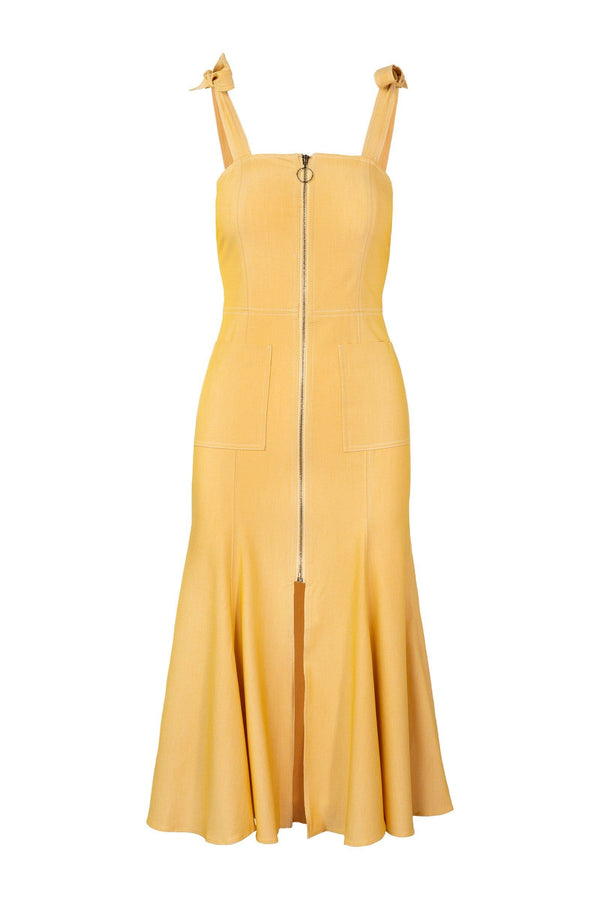 Golden Godet Dress
