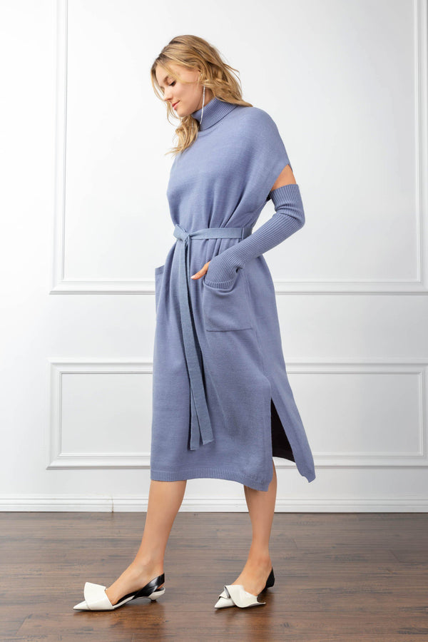 Harlow Knit Dress Blue in Knitwear by J.ING - an L.A based women's fashion line