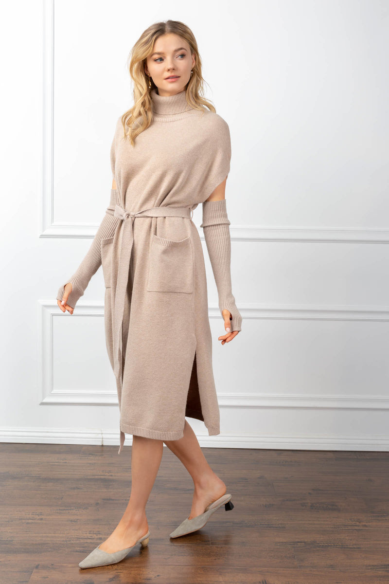 Harlow Knit Dress Tan in Knitwear by J.ING - an L.A based women's fashion line