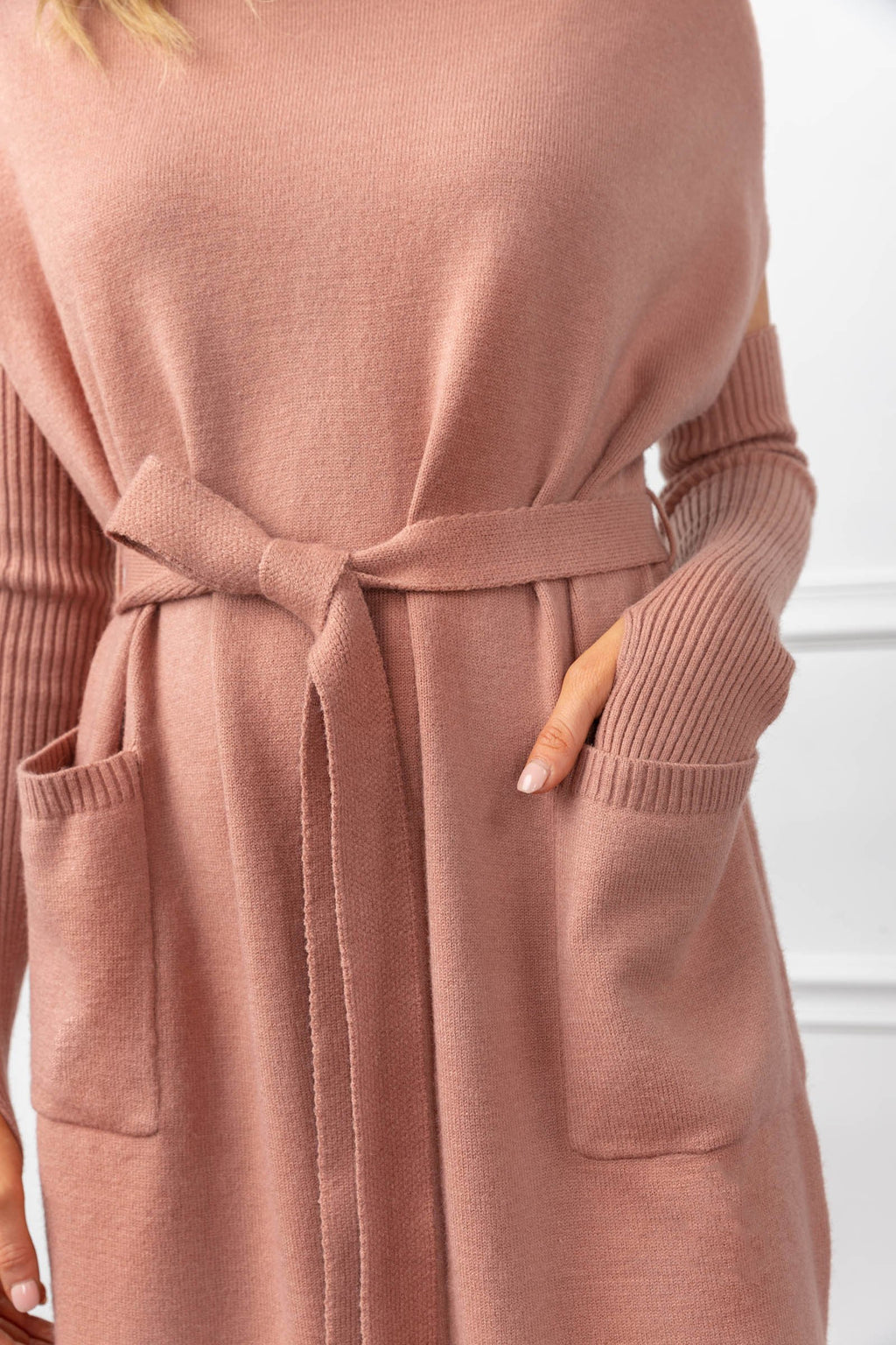Harlow Knit Dress Pink in Knitwear by J.ING - an L.A based women's fashion line